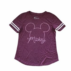 Mickey Mouse Maroon T-Shirt w/ Mickey Head Graphic